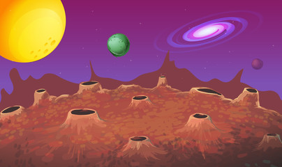 Background scene with moon surface and other planets
