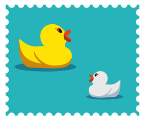 Two rubber duck illustration. Candy colors vector flat icon.