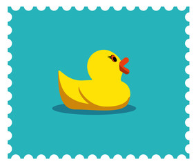 Rubber duck illustration. Candy colors vector flat icon.