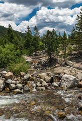Swift mountain stream. Rocky Mountain National Park, Colorado, USA. Summer in the mountains
