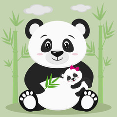 A sweet panda sits and holds a baby with a pink bow and a bamboo branch, against a background of bamboo trees and clouds.