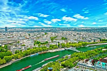 seine, aereal view of Paris