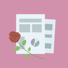 composition of office sheets of paperwith red rose on a pink background