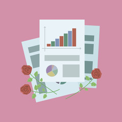 composition of office sheets of paper and with red rosees on a pink background