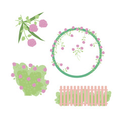 elements and wreath with delicate pink roses grass leaves and a fence