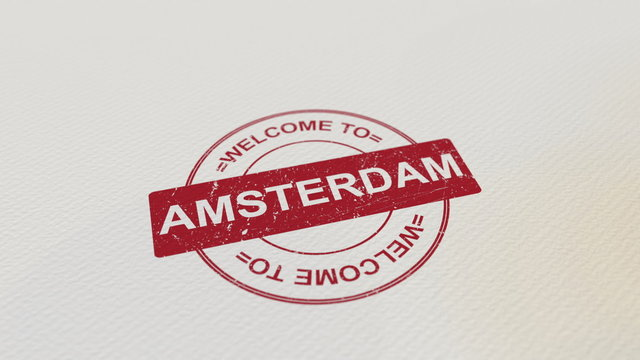 WELCOME TO AMSTERDAM stamp red print on the paper. 3D rendering