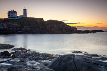 Nubble Lighthouse at sunrise, Cape Neddick, Maine, USA