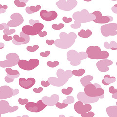 Hearts of different shades of pink on a white background pattern