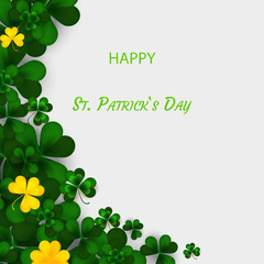 Saint Patrick's Day Vertical Border with Green and Gold, Four and Tree Leaf Clovers on White Background. Vector illustration. Party Invitation Design,