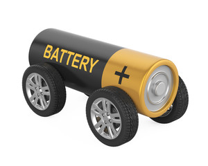 Battery with Wheels Isolated
