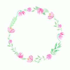 Round wreath with pink flowers and twigs. Watercolor hand drawn illustration