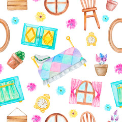 Seamless background pattern with bed, windows, curtains, frame, alarm clock, chair and flowers. Watercolor hand drawn illustration