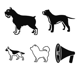 Pit bull, german shepherd, chow chow, schnauzer. Dog breeds set collection icons in black style vector symbol stock illustration web.