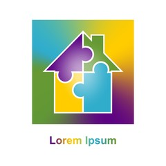 Exclusive Corporate business colorful sign with a house made of four puzzles of different colors in rainbow square in the frame. Icon of family house with white contour.