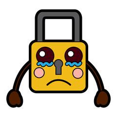 safety lock sad emoji icon image vector illustration design