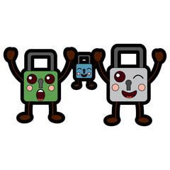 safety locks emoji icon image vector illustration design