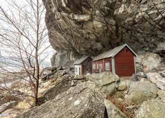 The Helleren houses in Jossingfjord along road 44 between Egersund and Flekkefjord, Sokndal municipality, Norway. January