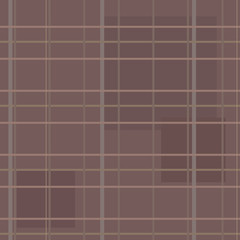 A brown seamless pattern with stripes, lines and squares of clot