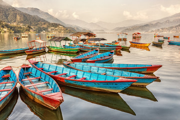 Photo sur cadre textile Népal Boats on Lake Fewa, Pokhara, Nepal