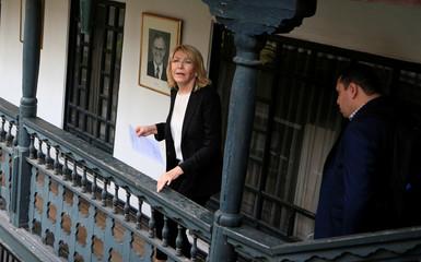 Venezuela's former chief prosecutor Luisa Ortega Diaz leaves a news conference in Bogota