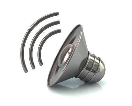Silver audio speaker volume icon 3d illustration