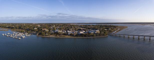 180 degree aerial panorama of Beaufort, South Carolina.