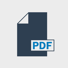 Portable Document Format, PDF file format Icon on gray background.