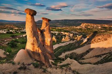 Unique rock formations near Urgup, symbol of Cappadocia, popular travel destination in Turkey Wall mural