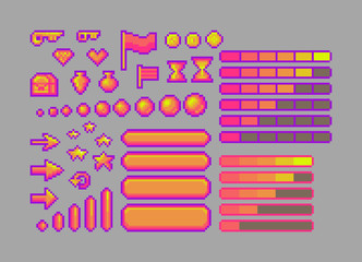 Pixel art bright icons.