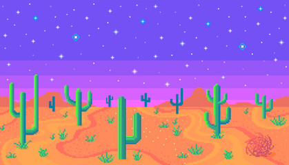 Pixel art desert at night.
