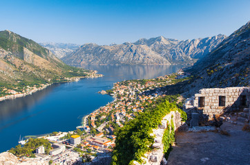 Fototapete - Fantastic view harbour  Kotor bay (Boka Kotorska). Location famous resort Montenegro, Balkans, Europe. Beauty world.
