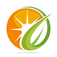 logo icon for business management and development of alternative energy with green energy concept