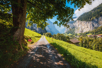 Great view of alpine village. Location place Swiss alps, Lauterbrunnen valley, Europe. Beauty world