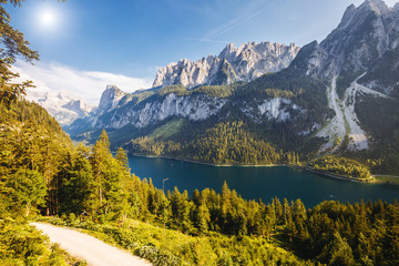 Alpine lake Vorderer Gosausee. Salzkammergut is a famous resort area located in the Gosau Valley in Upper Austria. Dachstein glacier.