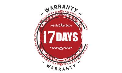 17 days warranty rubber stamp