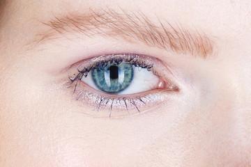 Close up shot of female eye make up in smoky eyes style