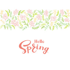 Floral elements and pink text Hello Spring