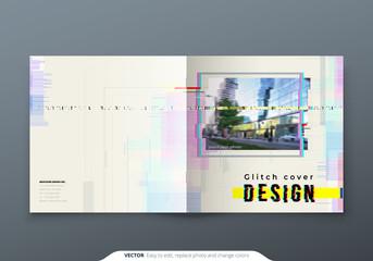 Trendy glitch cover design template for sqaure brochure. Modern glitch vector illustration.