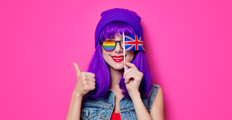 Girl with purple hair and with UK flag