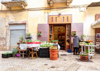 Typical Italian small market on the street.