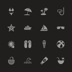 Sea Travel icons - Gray symbol on black background. Simple illustration. Flat Vector Icon.