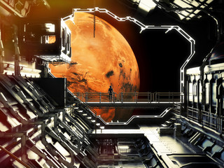 Discovery. Space station in orbit around Mars with lone astronaut enjoying the view. 3d rendering .Elements of this image are furnished by NASA.