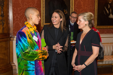 Model Aboah, Countess of Wessex and Chief Executive Rush, attend reception to celebrate the Commonwealth Fashion Exchange at Buckingham Palace in London