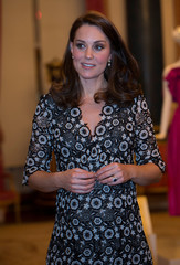 Catherine is seen at a reception to celebrate the Commonwealth Fashion Exchange at Buckingham Palace in London