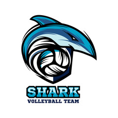 Shark Volleyball Logo Vector 02