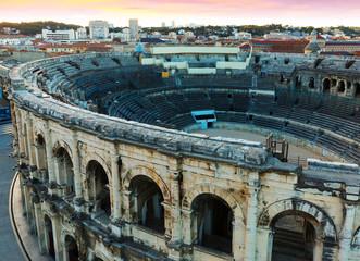 Roman amphitheatre and cityscape of Nimes
