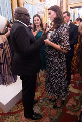 Catherine, Firth and Enninful attend reception to celebrate the Commonwealth Fashion Exchange at Buckingham Palace in London
