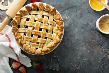 Strawberry pie overhead shot