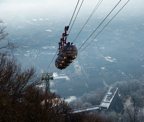 City view from the mountain  of Grenoble with cable car