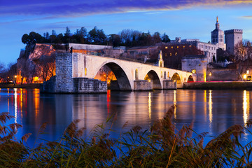 Pont St-Benezet, Palais des Papes and Rhone River at evening